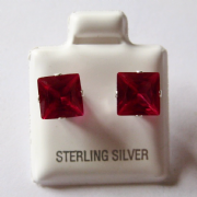 7mm square Princess cut Ruby Cubic Zirconia Sterling silver Stud earrings